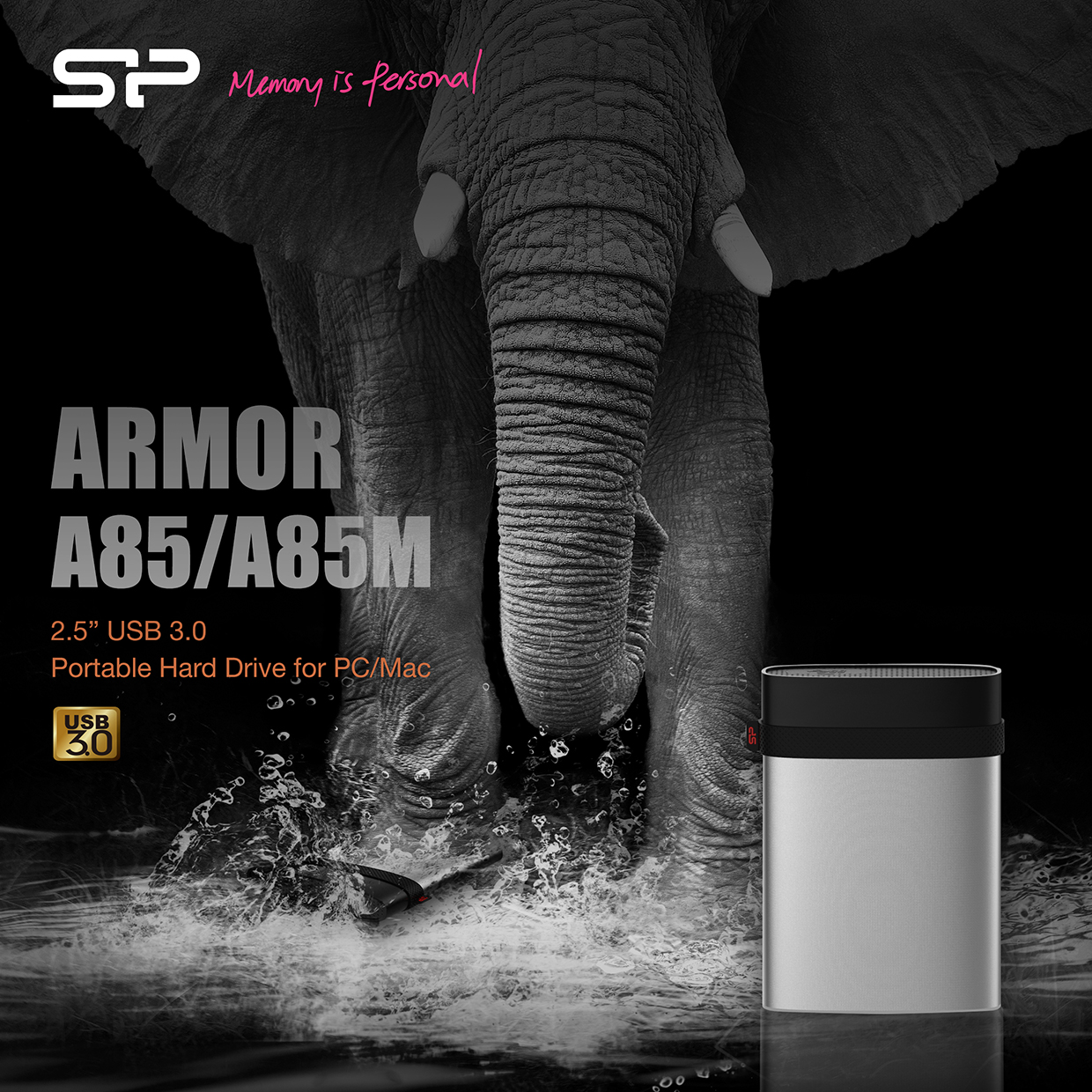 SP/ Silicon Power Introduces the Armor A85/A85M Portable Hard Drive  Complete data protection with full disk encryption, shockproof, waterproof and pressure-resistant functions