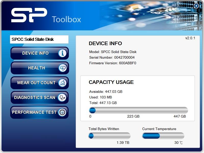 Slim S55 Бесплатное ПО SP Toolbox для мониторинга состояния твердотельного накопителя