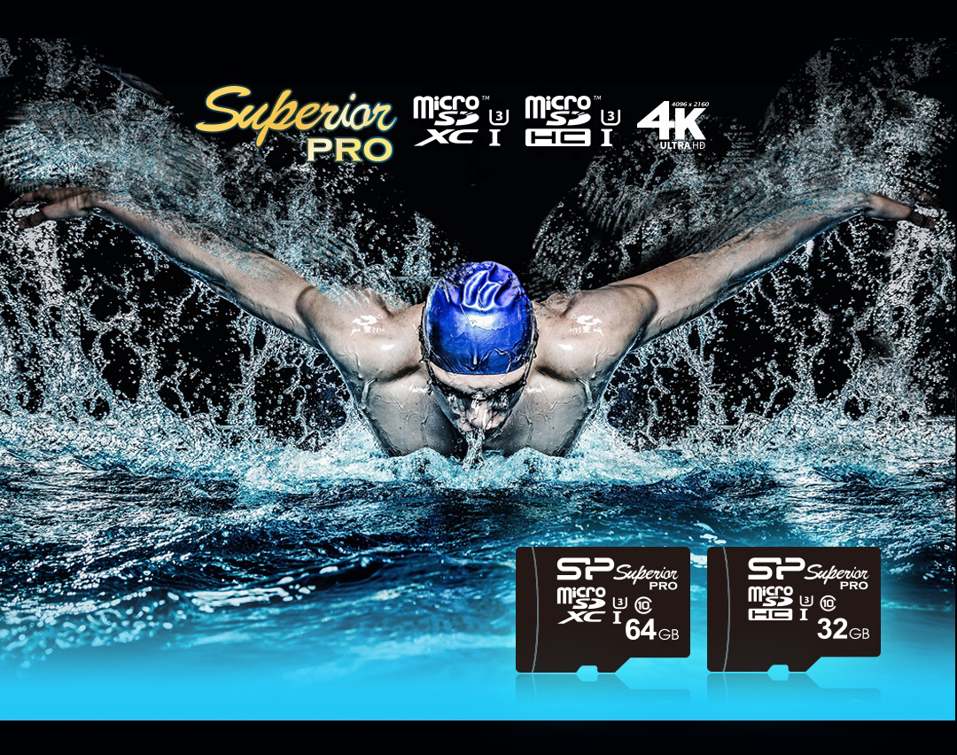 Superior Pro<br>microSDHC/SDXC<br><font color='#888888' size='2%'>(Class 10. UHS-I U3. 4K UHD)</font> Capture Every Moment