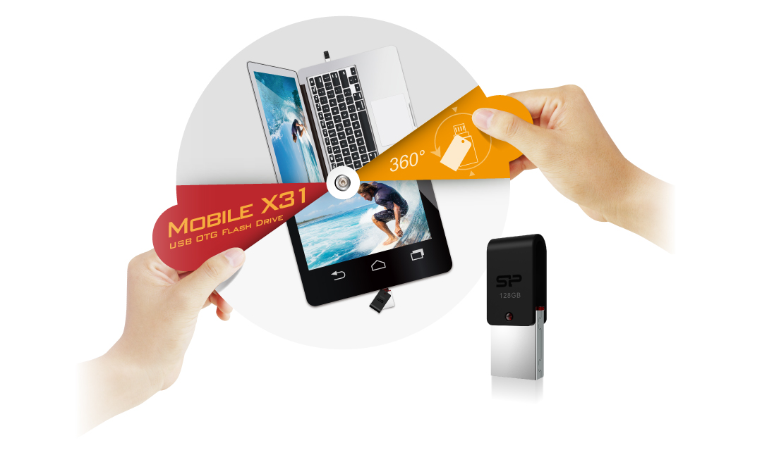 Mobile X31 USB + microUSB dual interfaces for cross-device data transmission
