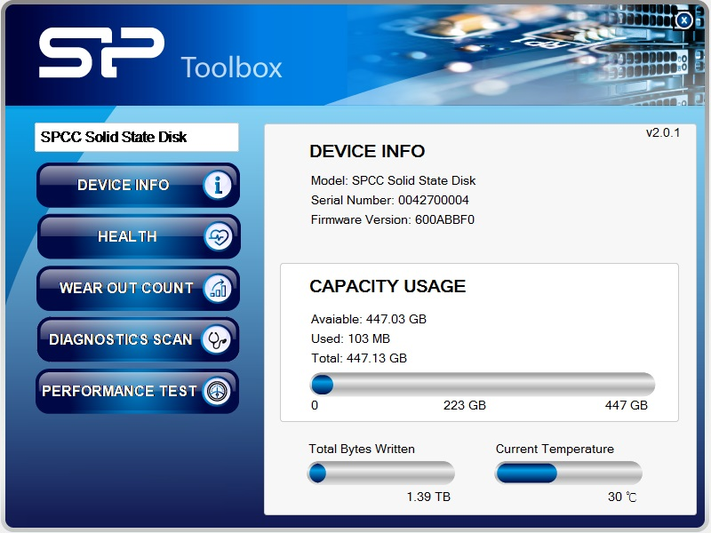 M.2 2280 M55 Free-Download of SSD Health Monitor Tool - SP Toolbox Software