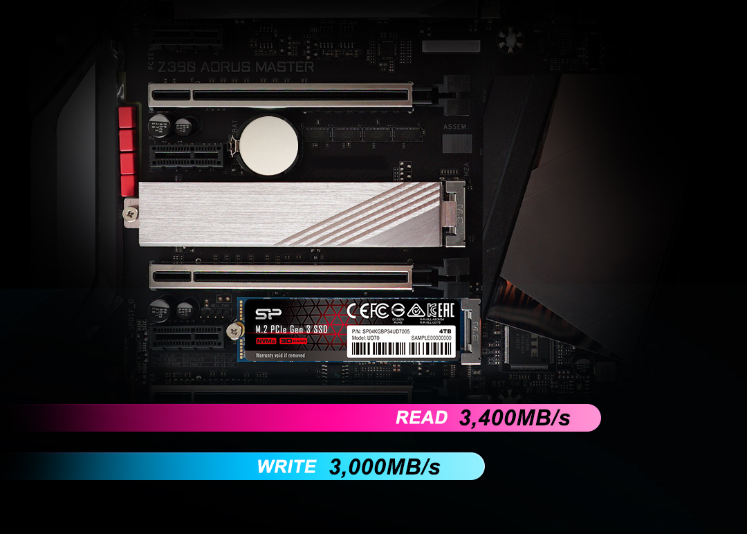 PCIe Gen3x4 UD70<br><font color='#888888' size='2%'> R/W:3,400/3,000/s </font> 3D QLC NAND: More Storage, Less Space