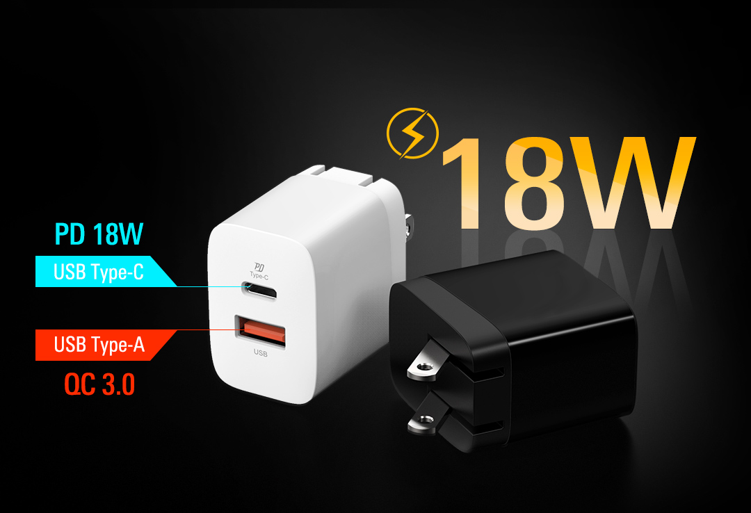 Boost Charger QM15 <br><font color='#888888' size='2%'>(Quick Charge / 18W)</font> Refuel & Go, Quickly: PD & QC3.0