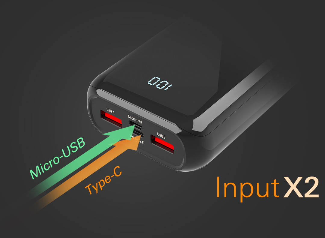 QS28<br><font color='#888888' size='2%'>(QC3.0+PD / Type-A*2, Micro-B*1, Type-C*1)</font> The Future Of Input Charging